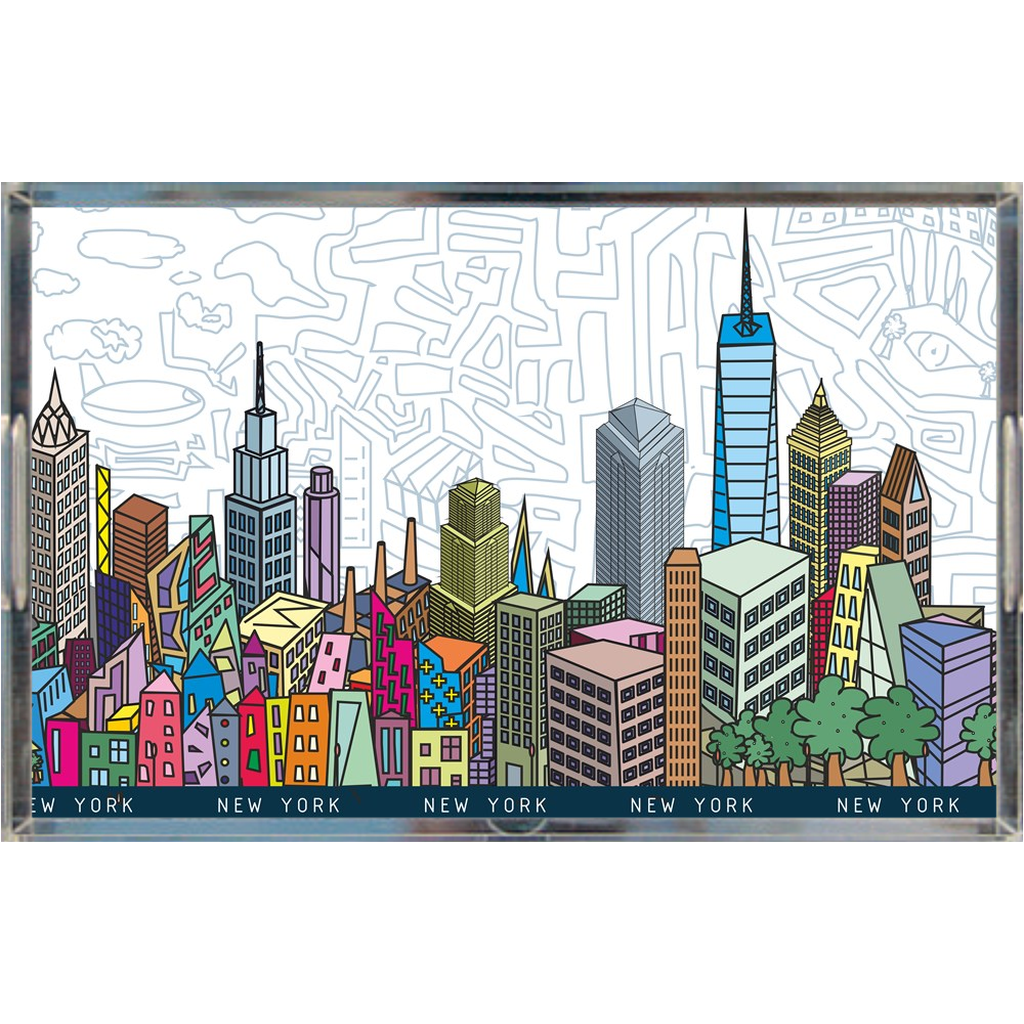 Acrylic tray - colorful NYC skyline