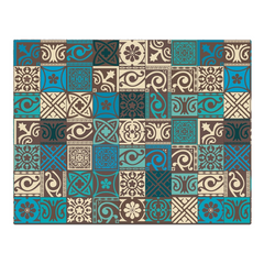 Traditional blue, green tile pattern - woven placemat