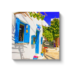 I love Greece and the Cyclades - white, blue and green - canvas wrap
