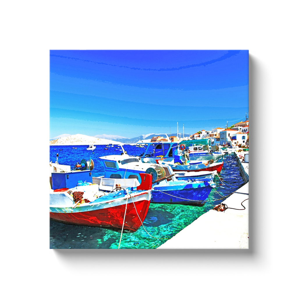Fishing boats of Chalki - Chalki, Greece - canvas wrap