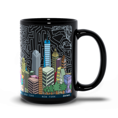 New York City - A uniquNew York City - A unique artistic depiction of the most exciting city in the world | mug 15oz, color.e artistic depiction of the most exciting city in the world | mug 15oz, color