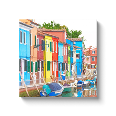 Burano's colors by the water - Burano, Italy - canvas wrap