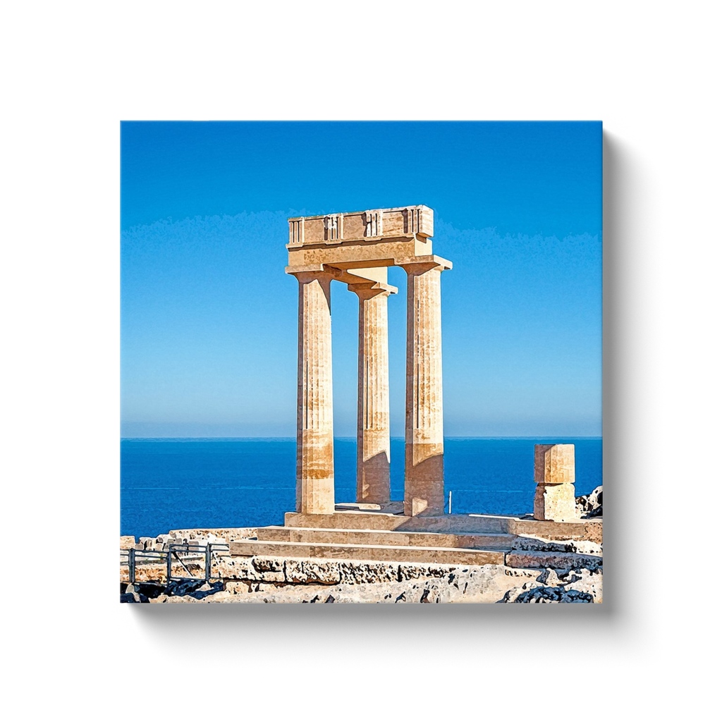 Athena of Lindos overlooking the sea - Lindos, Rhodes - canvas wrap
