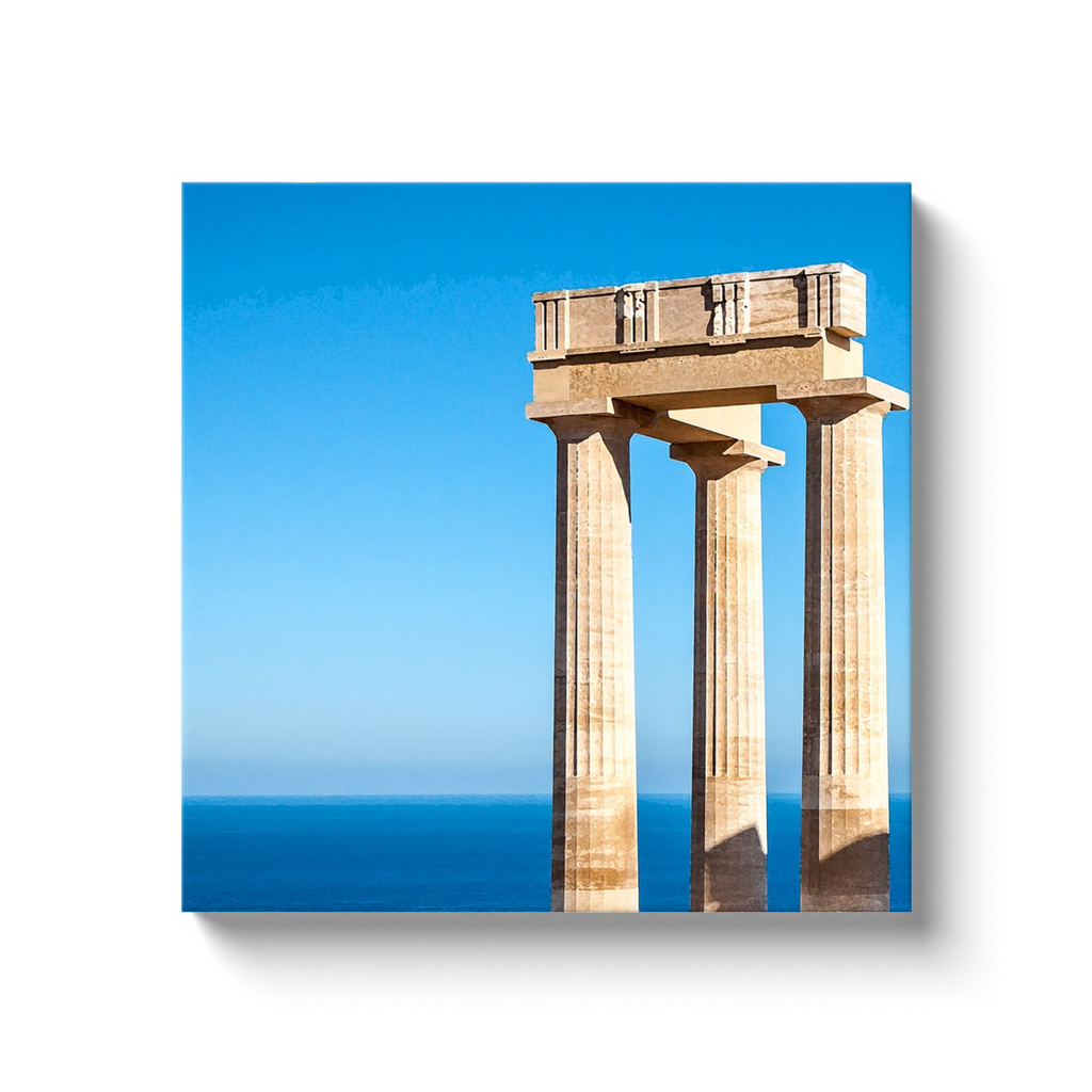 Athena Lindia over the sea - Lindos, Rhodes - canvas wrap