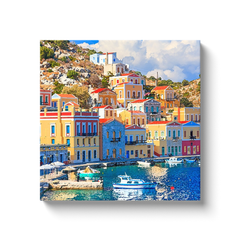 Neoclassical Symi and the fishing boats - canvas wrap