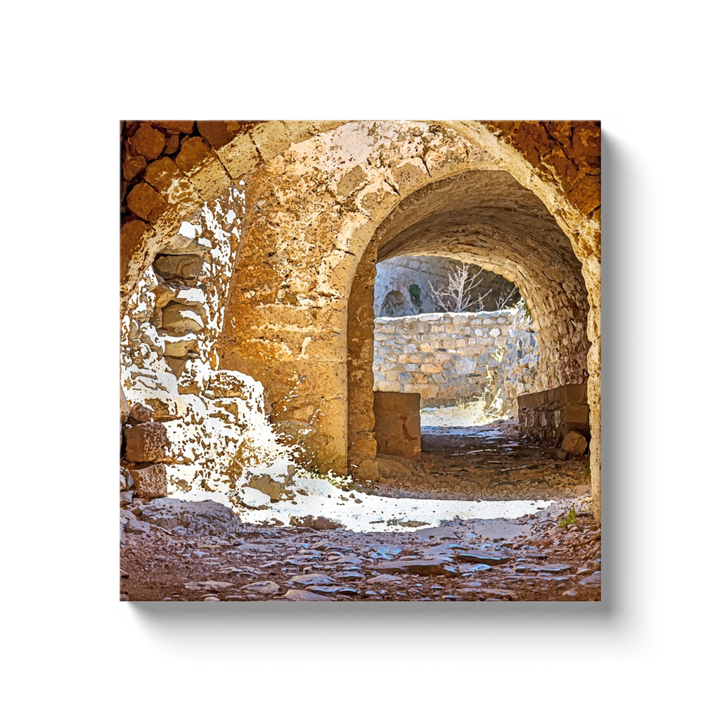 Rodian medieval arches and stones - Rhodes, Greece - canvas wrap