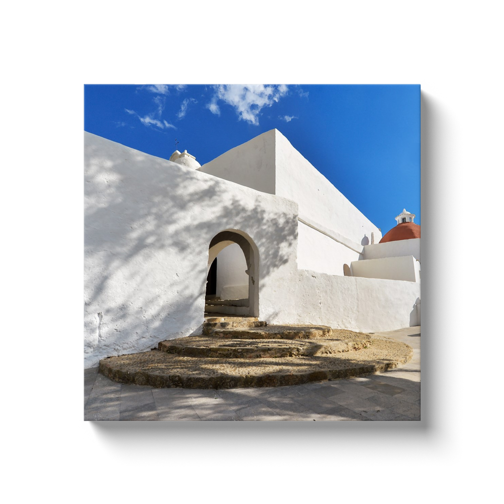 Blue and white houses of Ibiza - canvas wrap