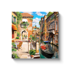 Gondola and Venetian mansions - canvas wrap
