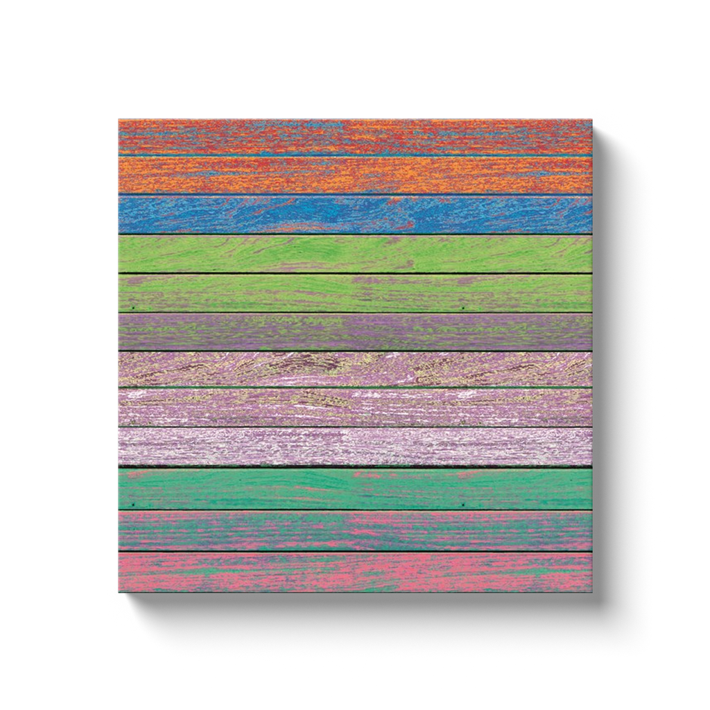 Rainbow on the wooden wall - canvas wrap