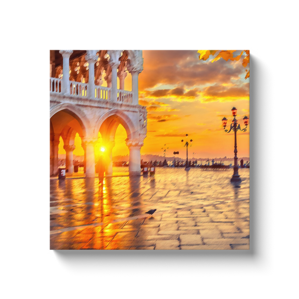Palazzos and sunset in Venice - canvas wrap