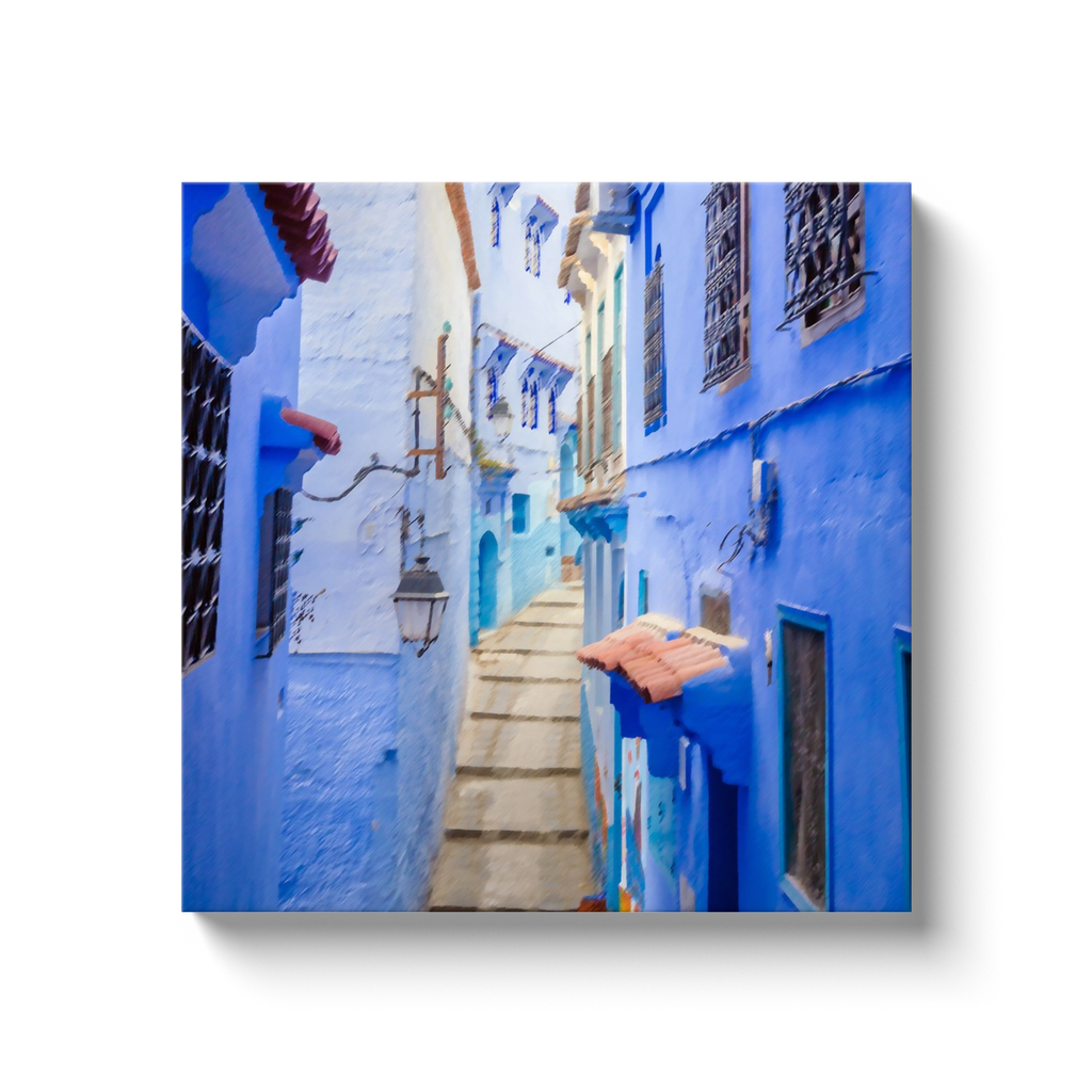 Village steps in color - Morocco - canvas wrap