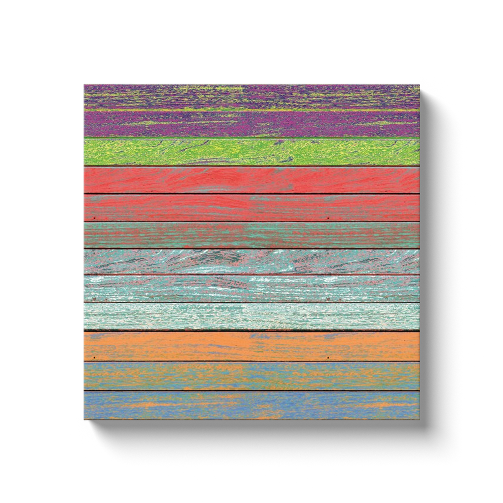 Rainbow on wood - canvas wrap