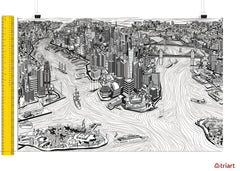 New York City - A unique artistic depiction of the most exciting city in the world | poster, black & white