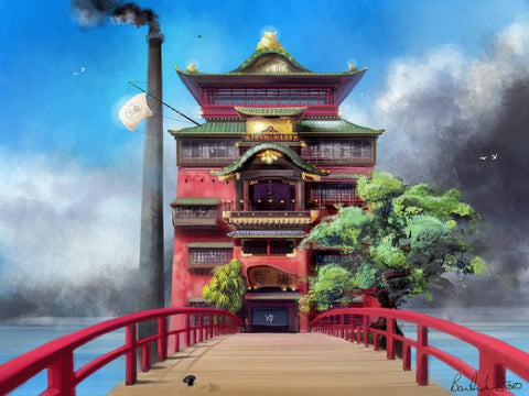Yubaba's bathouse in Spirited Away, drawn by Anton Diaz