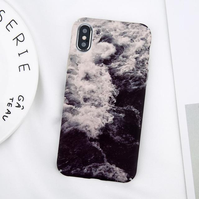 Case For iPhone X Marble Stone and Leaf Pattern - Pink Panda Store