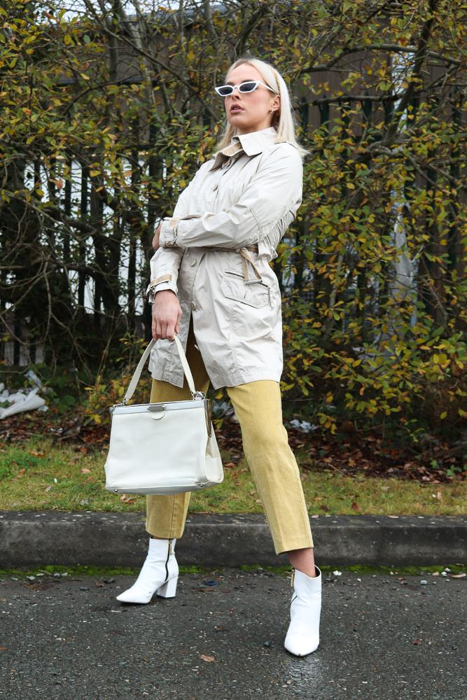 Trussardi Jeans Trench Coat in Cream