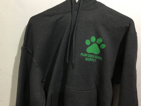 Plum Creek Hoodies Charcoal with Green Lettering Front