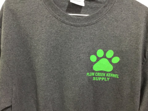 Plum Creek T-Shirt Short Sleeve Gray with Green Lettering Front