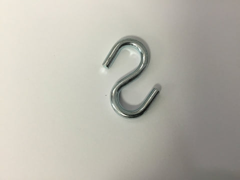 "S Hook Zinc plated 1 3/4"" long"