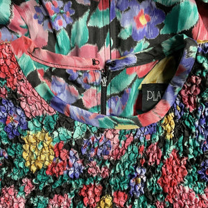 Vintage 80's PLAZA SOUTH Floral Colorful Crinkle Bow Acetate Dress, Size 10 EUC