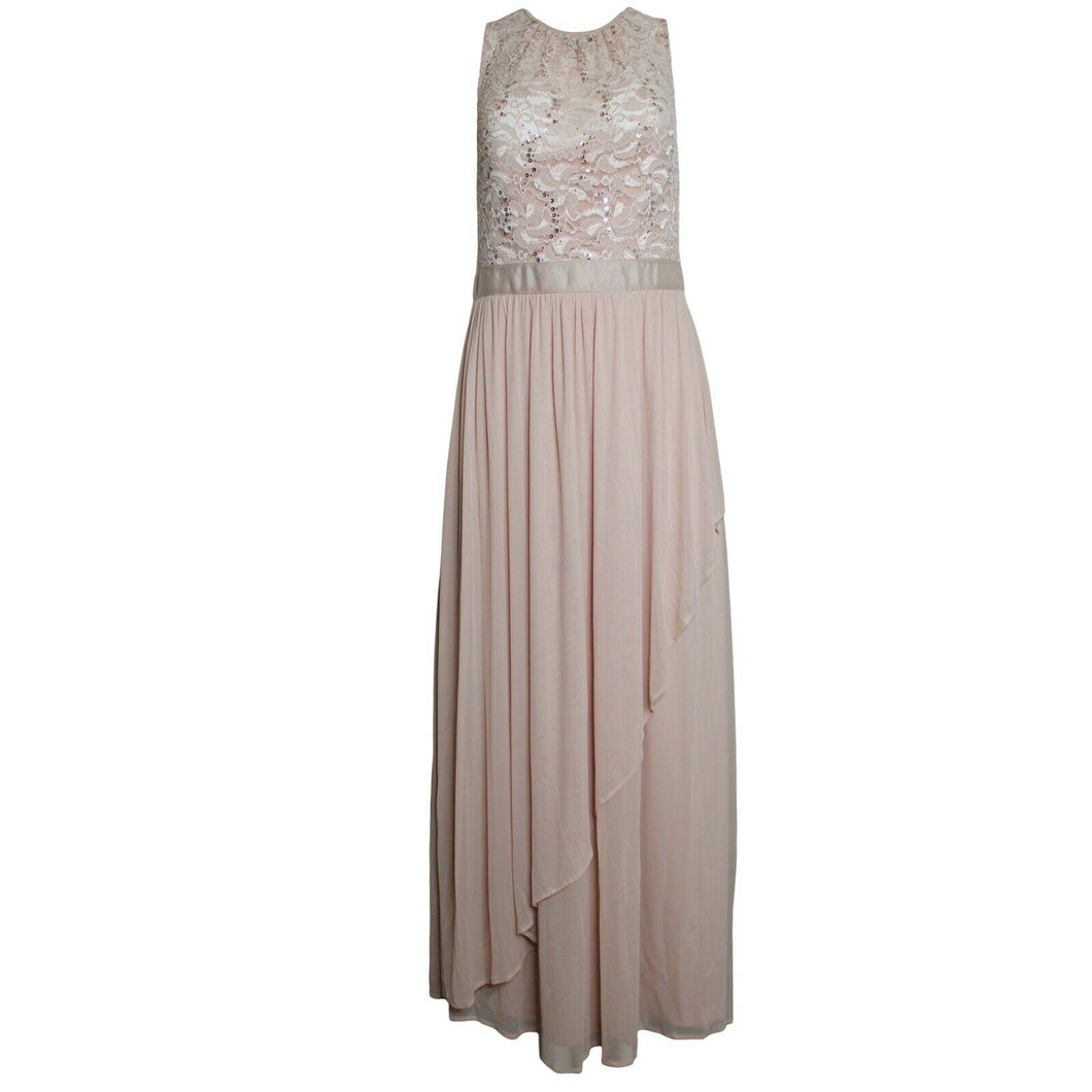 Blu Sage Petite Lace Sequin Top Gown, Peach, (Size 10P) NWT