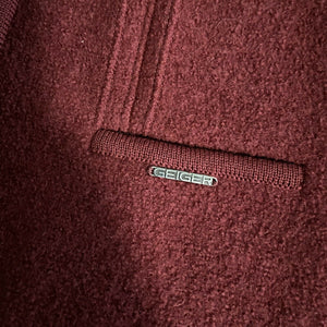 VTG Geiger Tyrol Burgundy 100% Boiled Wool Sweater Jacket, 36 (XS/S) Austria