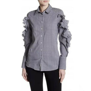 Romeo & Juliet Couture Gingham Button Long-sleeve Ruffle Top, Sz Small NEW $155