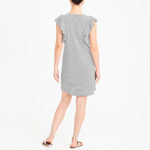 J1944 J. Crew Factory Striped Ruffle-Shoulder Dress,  (Size Small Medium) NEW $79