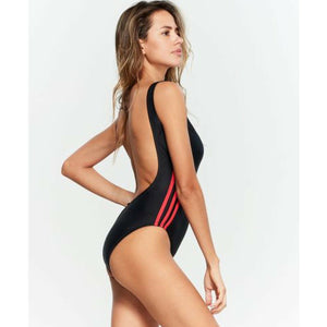 Adidas Logo One-Piece Swimsuit, Black / Red, Size Large NEW $86