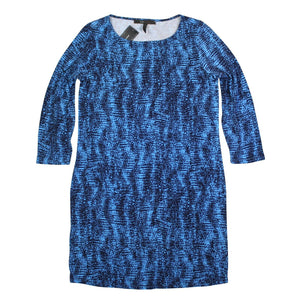 BCBG MAXAZRIA 3/4 Sleeve Shift Dress, Pacific Blue Combo, Size Small NWT $178