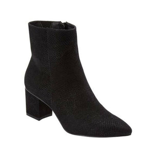 THE LORELI BOOTIE BY COMFORTVIEW Suede-like Snake, Black, 7.5W 7-1/2W NEW $120