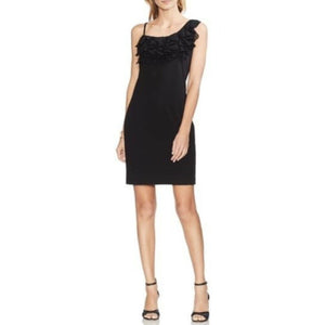 Vince Camuto Ruffle Asymmetrical Sleeve Crepe Dress, Rich Black, Sz 16 NWT $130