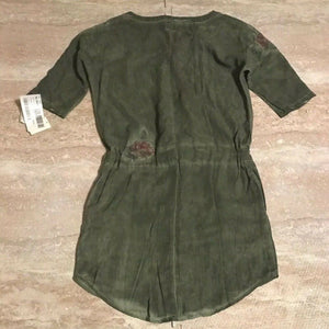 BILLY T Embroidered Drawstring Waist Shift Dress Elbow Sleeve, Sz Small NEW $118