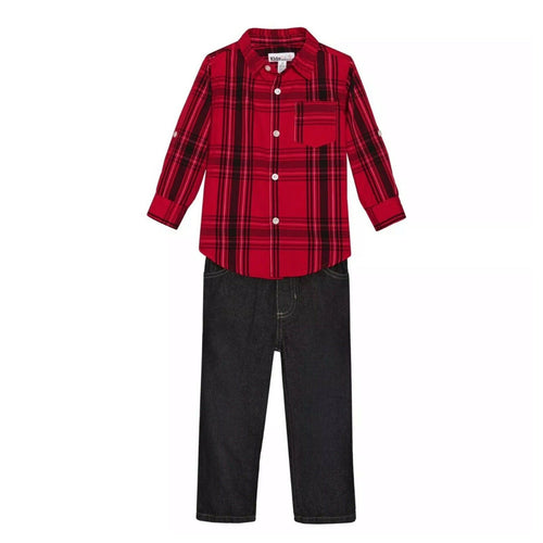 Kids Headquarters 2Pc Plaid Shirt and Jeans Set - Long Sleeve (2T, 3T) NEW $38