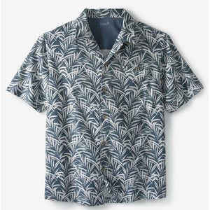 KS Island Linen Camp Shirt, Blue Mirage Leaf, Sz Large 2XL Tall LT 2XLT NEW $50