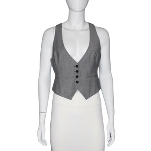 Ann Taylor LOFT Wool Blend Vest Business Career, Black White, Size Small EUC