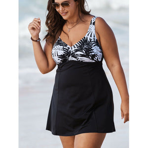 Swim 365 Print Bodice Swimdress, Black White Palm, Size 14, NEW $100