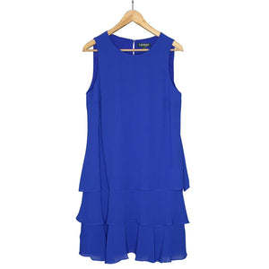 Lauren Ralph Lauren Tiered Ruffle Georgette Dress, Rugby Royal, NWT $125