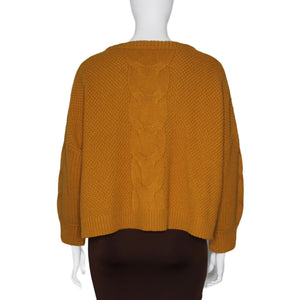 AB832 J. Crew Cable-knit Balloon Sleeve Sweater, Warm Caramel, Size 3X NWT $118