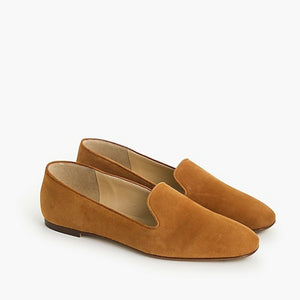 H5523 J. Crew Suede Smoking Slippers Flats, Roasted Cider, Size 9.5 NEW $158