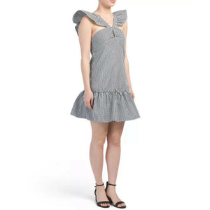 Romeo & Juliet Couture Gingham Ruffle Dress, Size Medium NEW $140