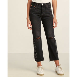 Levi's 501 Original Cropped Women's Jeans Embellished Ripped, 30 x 26 NWT $128