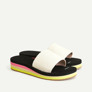 AN883 J. Crew Platform EVA Slide Sandals, Natural, Size 11 (10) NEW $50