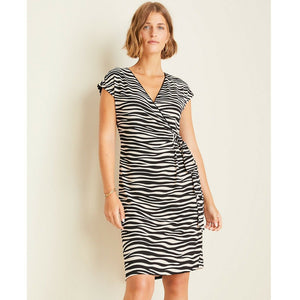Ann Taylor Zebra Print Matte Jersey Wrap Dress, (Size 0) NEW $98
