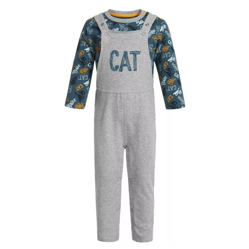 CAT Caterpillar Tractor Company Equipment Infant Overalls and Shirt Set (3M) NEW $26