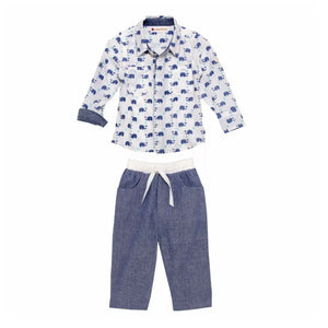 Masala Baby Dandy 2Pc Infant Baby Boy Pants Set Outfit, Elephant Indigo (3-6Mo) NEW $60