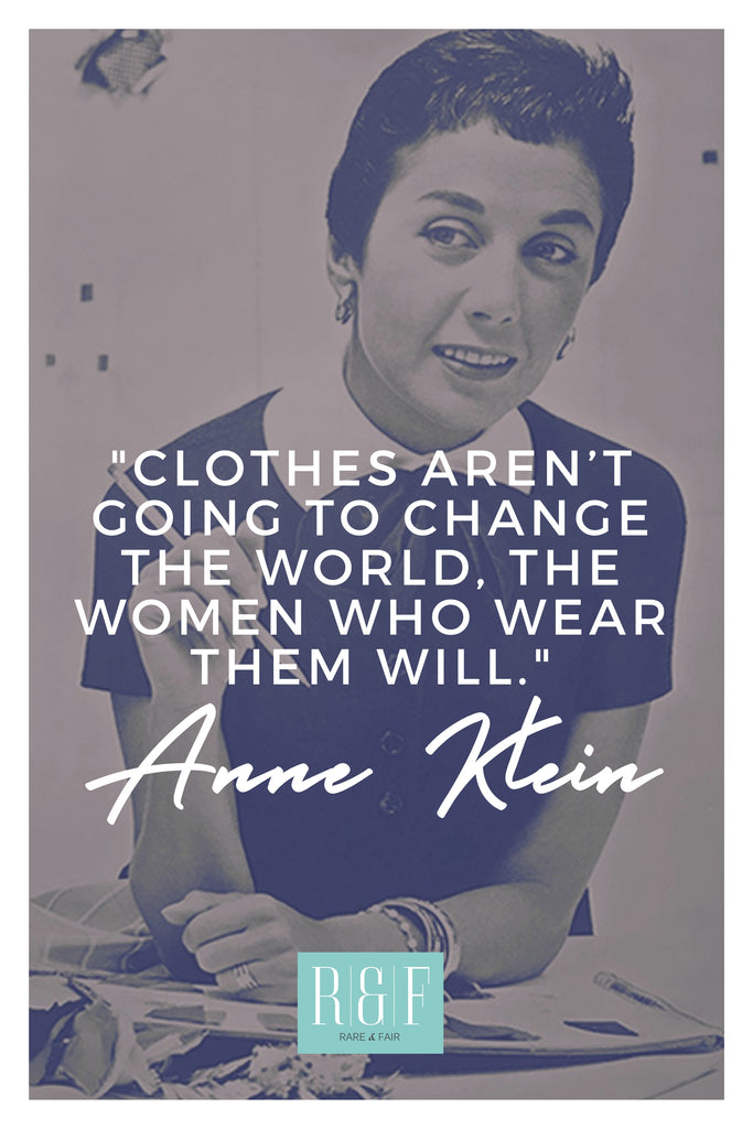 Anne Klein | The Inspirational Women Behind The Slow Fashion Quotes | Rare & Fair