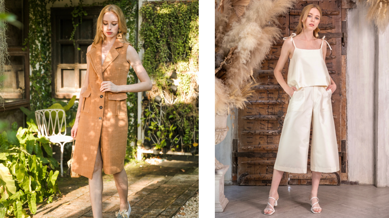 Model pictured twice: on the left wearing a tan coloured shirt dress, and on the right wearing a cream coloured silk strap top with matching culottes