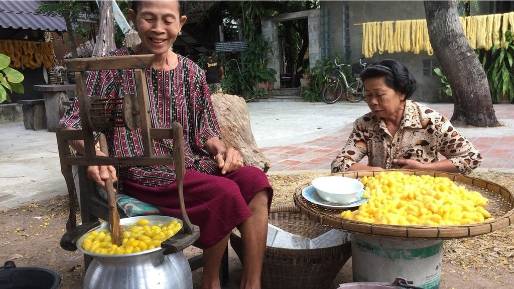 Two Thai ladies boiling silk cocoons for the harvesting of silk