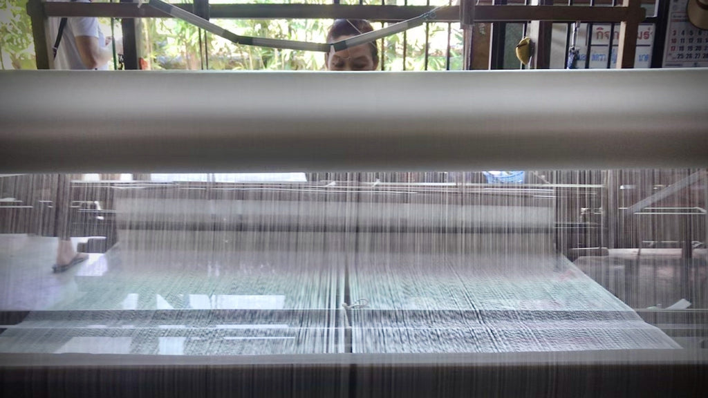 Woman artisan on her traditional loom creating fabric for the Dawn Co Ord Set from 100% pure silk thread